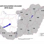 veszettség elleni vakcinázási térkép 2016 ősz